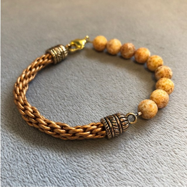 1/2 leather 1/2 beads Kumihimo bracelet – The Bead Garden